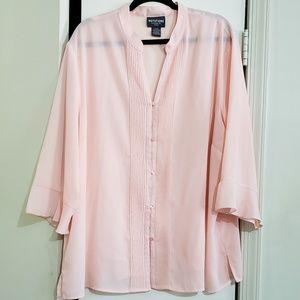 Pink V-Neck 3/4 Sleeve Blouse (Size 3X)